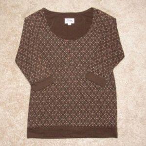 Tops - Women's Dark Brown Knit Scope Neck Shirt